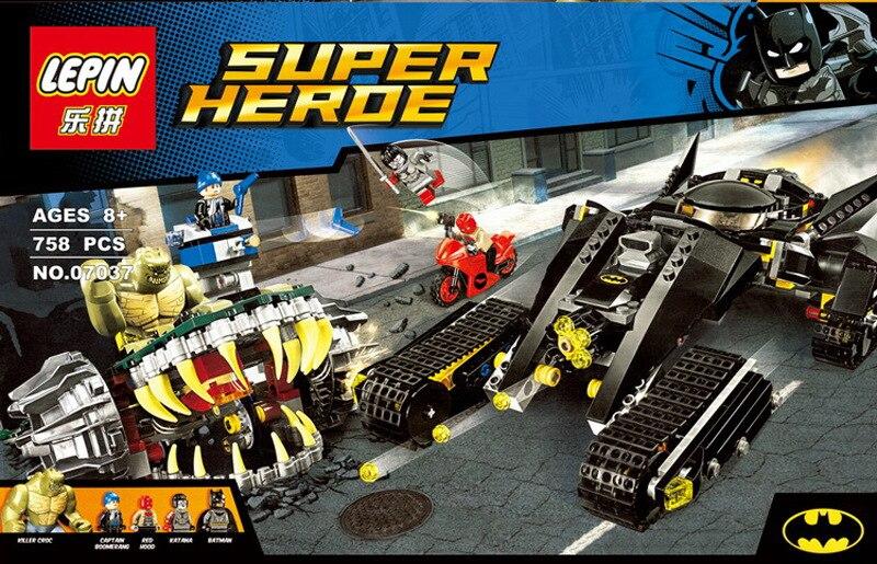 ФОТО LEPIN 07037 758Pcs Avenger DC Superheroes Batman Killer Croc Sewer Smash Model Building Kits Figure Blocks Bricks Toy 76055