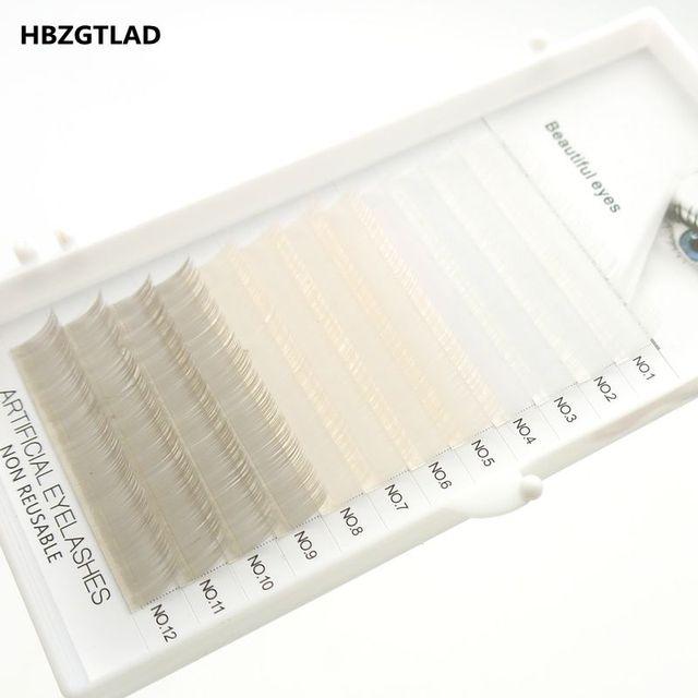 HBZGTLAD جديد C/D حليقة 0.07/0.1 مللي متر 8 15 مللي متر كاذبة جلدة الأبيض + البيج + رمادي رمش الفردية الملونة جلدة فو رمش ملحقات