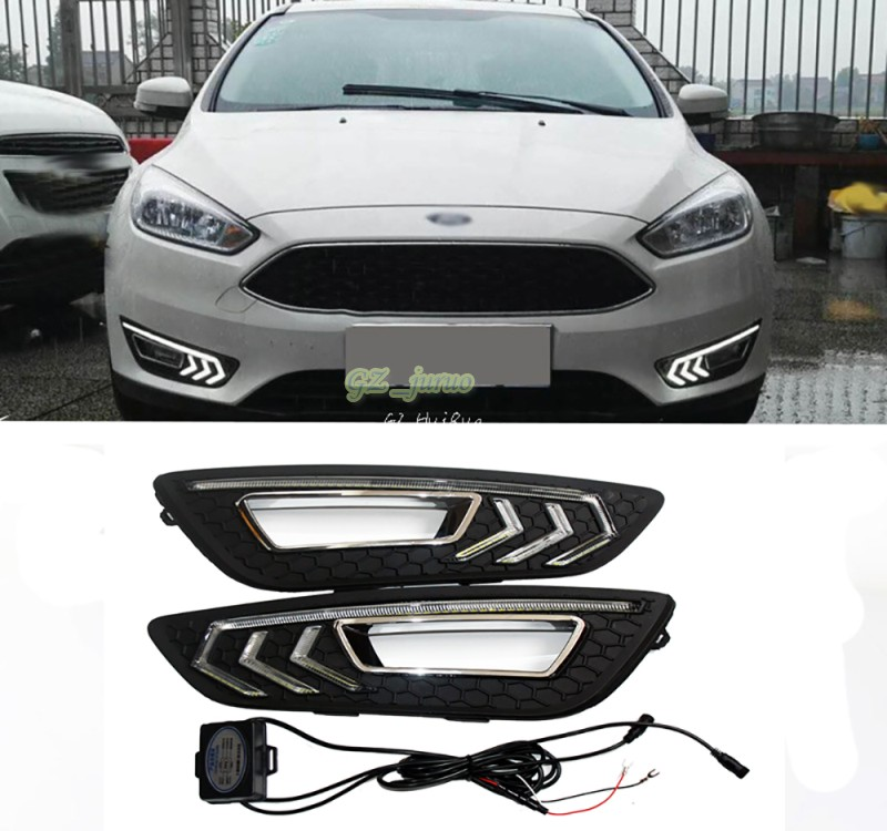 for Ford Focus 4 2015 2016 dimming style Relay 12v LED Auto Car DRL daytime running lights Bumper Front Fog lamp 12v oe fittimng factory style fog lights