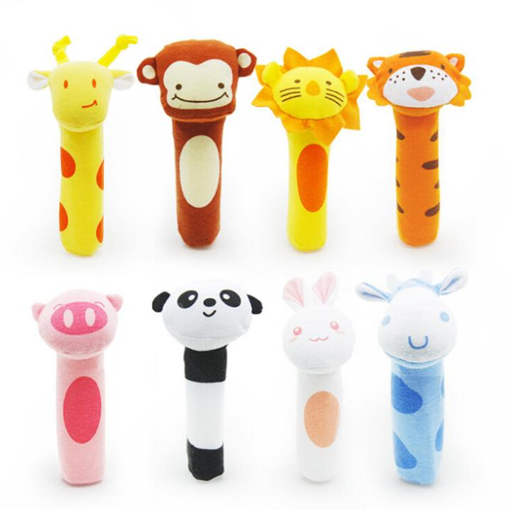 Newborn toys Soft Animal Model Handbells plush Rattles Squeeze Me Rattle Cute Gift Baby toy 0-12months HT014