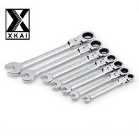 XKAI 8 10 12 13 14 17 19mm Flexible Head Ratchet Spanner Combination Wrench A Set