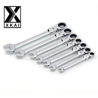 XKAI 8 10 12 13 14 17 19mm Flexible Head Ratchet Spanner Combination Wrench A Set