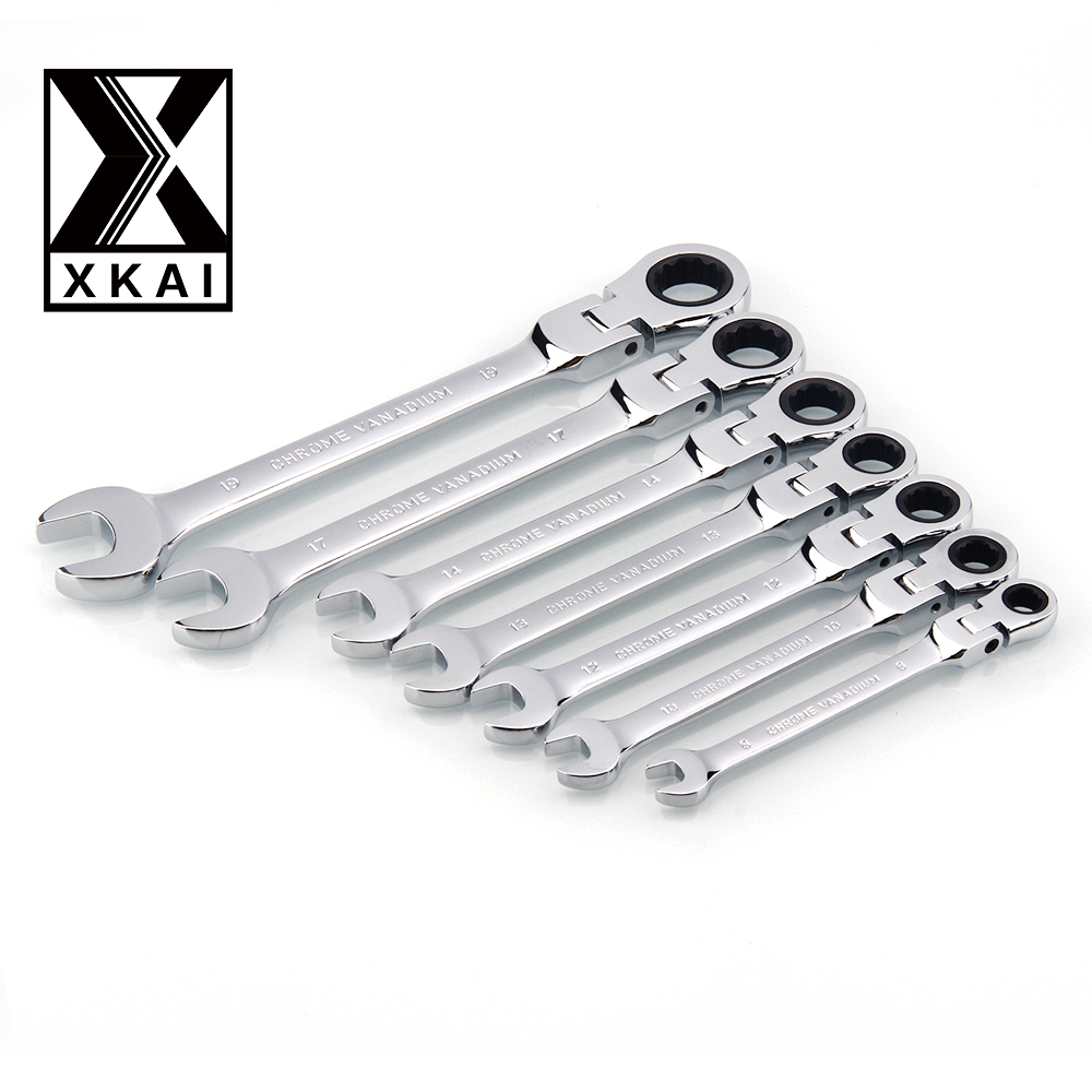 XKAI 8.10.12.13.14.17.19mm  Flexible Head Ratchet Spanner Combination wrench a set of keys ratchet handle tools torque wrench 7pieces metric ratchet handle wrench set spanner gear wrench key tools to car bicycle combination open end wrenches 8mm 18mm