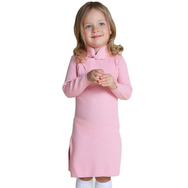 b750b57892d Girls Winter Sweater Dresses Toddler Baby Girls Winter Spring Qipao Chinese  Year Dress Thicker Red Pink Cheongsam Sweater Dress