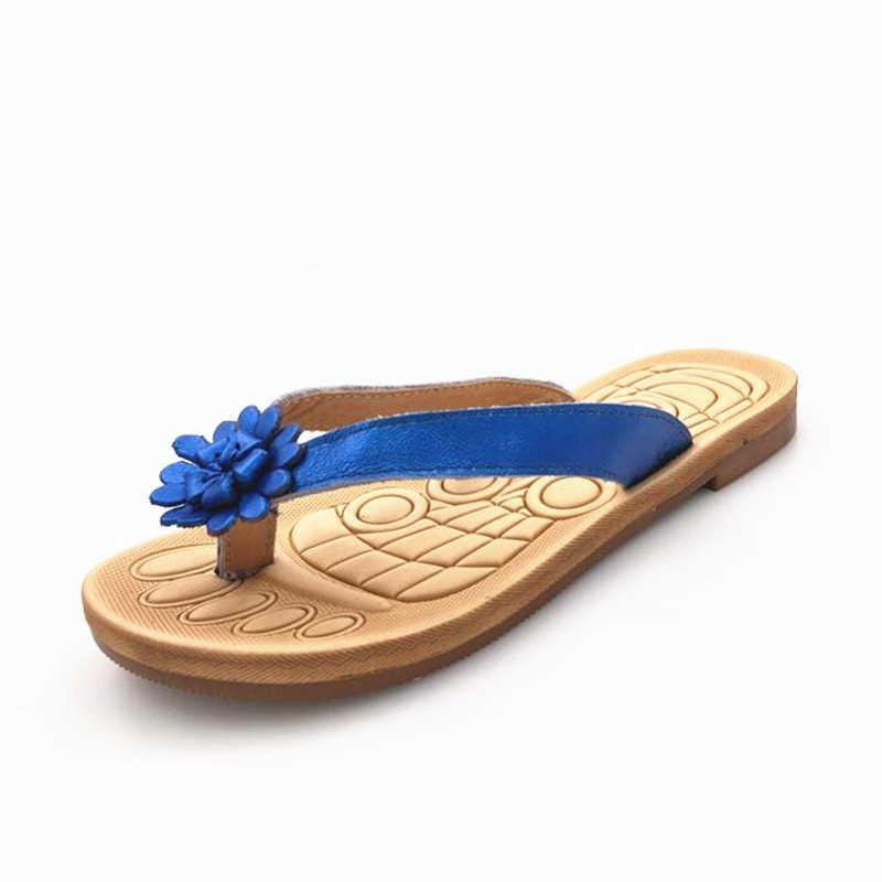 2019 yeni kadın terlik hakiki deri çiçekler yaz sandalet, flip-flop kadın yaz ayakkabı