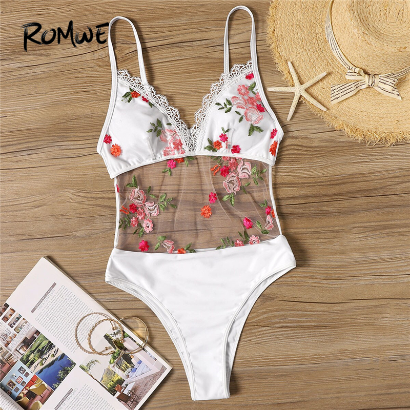 Romwe One-Piece Swimsuit Bikinis-Set Monokini Women Floral Sport Beach Summer Mesh Backless