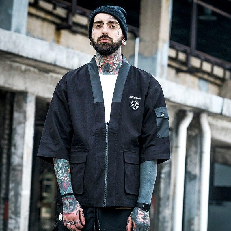 S-XXL Men Cotton Cardigan Jacket Male Streetwear Fashion Hip Hop Casual Coat Loose Kimono Jacket