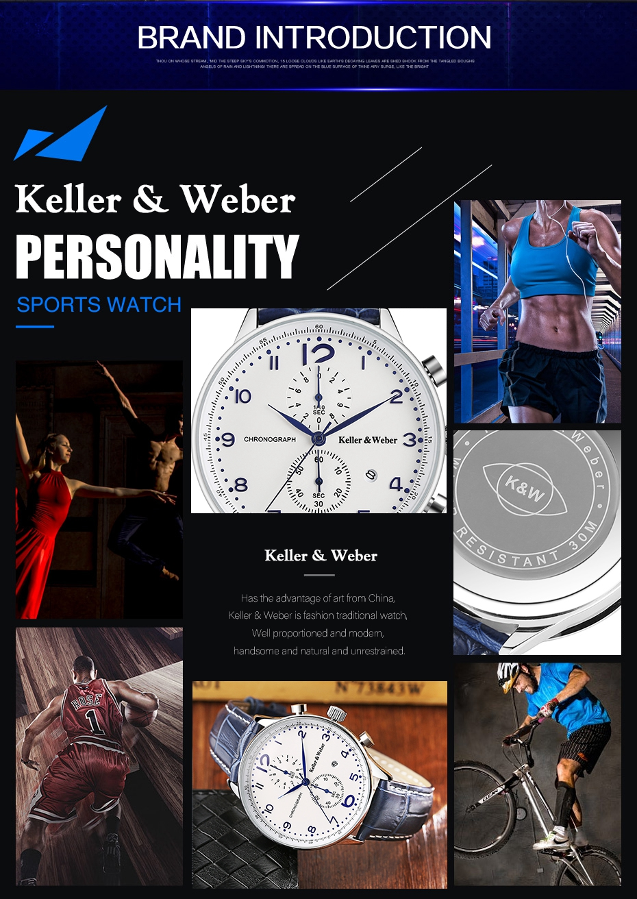 Keller & Weber 2017 Chronograph Mens Watch New Top Luxury Military Sport 30ATM Quartz-watch Genuine Leather Date Clock Male Hour Gifts for Men (7)