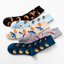 10Pcs=5Pairs/Lot Harajuku Funny Socks Women Pure Cotton Cute Seafood Printed For Unisex Streetwear Cartoon Mid-Tube
