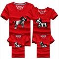 3 pçs/set Família 95% Algodão Dos Desenhos Animados Camiseta Casal Correspondência Filho mãe Roupas Das Mulheres Dos Homens Camisa Verão Garoto Bonito Zebra camisetas