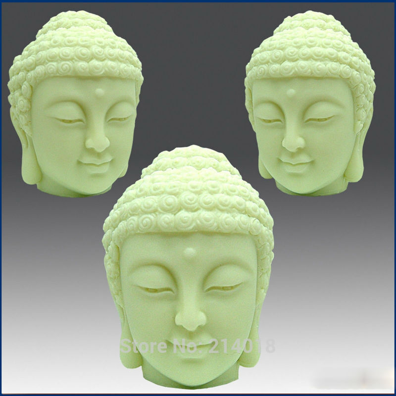 DIY 3D Buddha  Head Handmade Silicone Soap  Cake Decoration Candle Mold