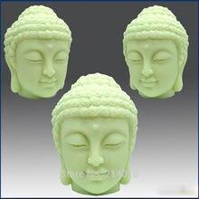 DIY 3D Cabeza de Buda hecho a mano silicona para jabón decoración de pasteles molde de vela