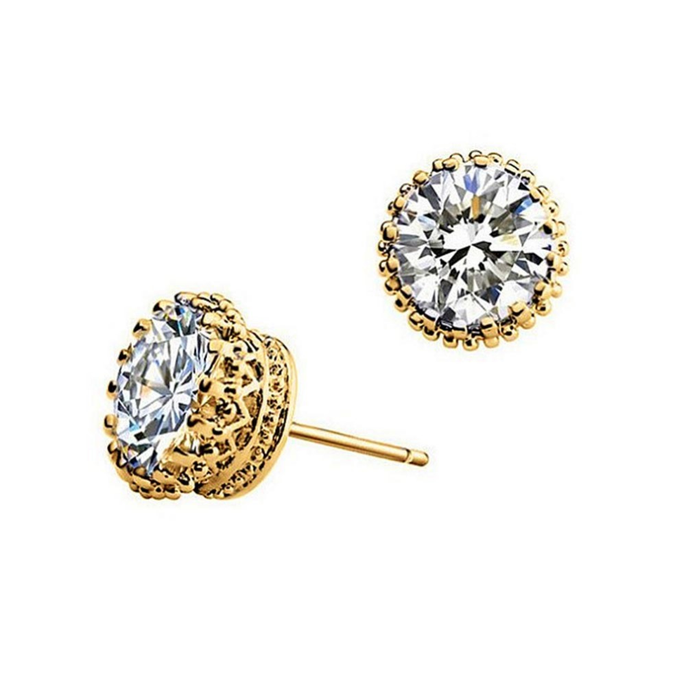 Wedding Earrings White Gold: Crown Stud Earrings Fashion White Gold Filled Brincos