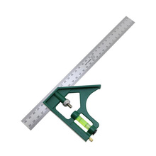 Multi-Function Combination Angle Ruler 300mm Active Square Ruler 45/90 Metric Angle Ruler With Bubble Level Protractor steel 90 degree angle metric 50cm scale ruler sling angle silver
