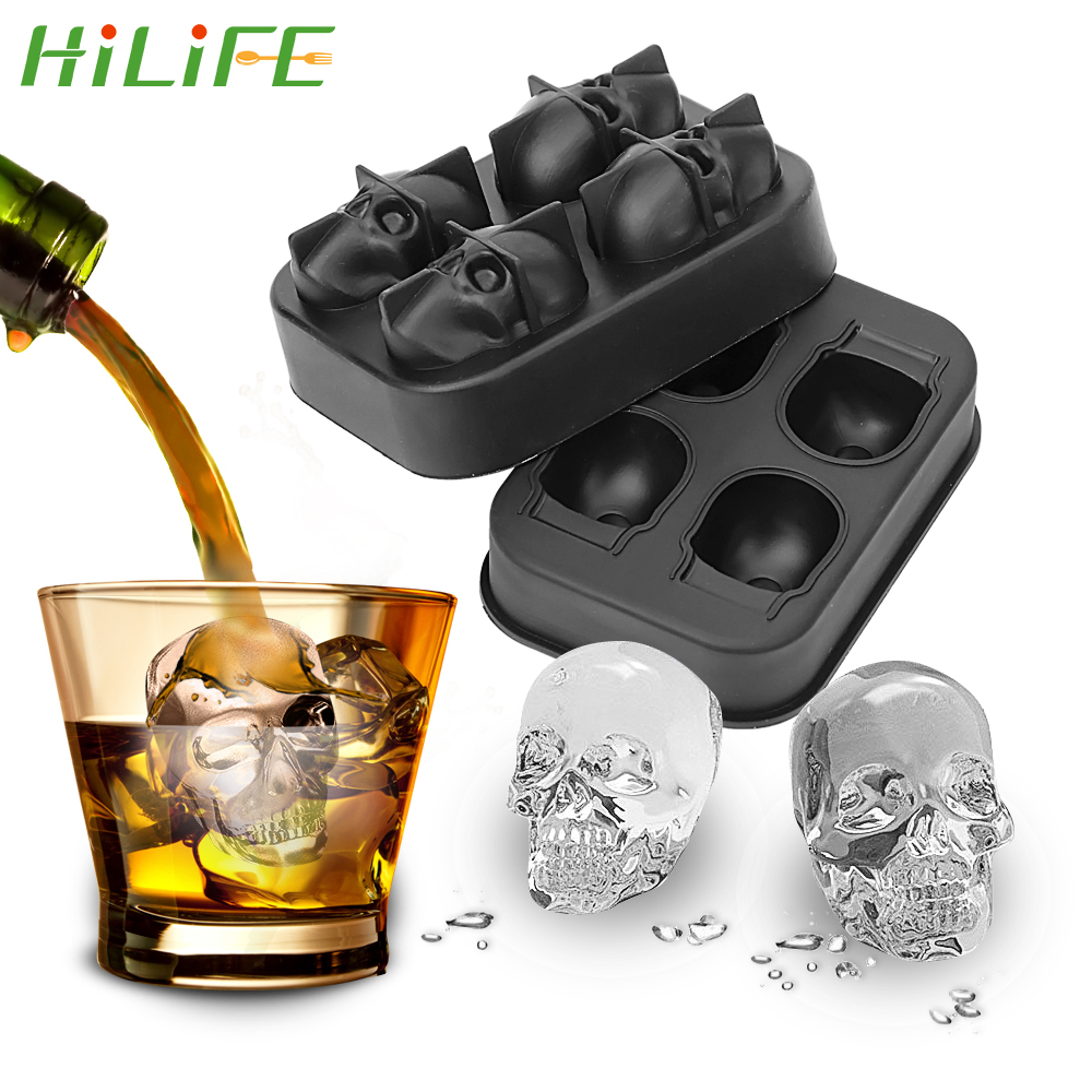 HILIFE Ice Cube Maker Skull Shape Chocolate Mould Tray Ice Cream DIY Tool Whiskey Wine Cocktail Ice Cube 3D Silicone Mold