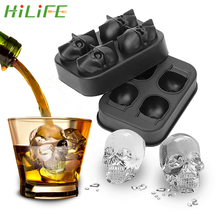Hilife Kem Máy Làm Hình Hộp Sọ Chocolate Khuôn Mẫu Khay Làm Kem Tự Làm Dụng Cụ Whisky Rượu Cocktail Kem 3D Silicone khuôn