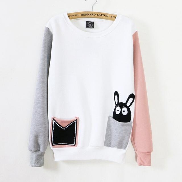 Bolso cor mix coelho dos desenhos animados camisola hoodies Mulheres manga comprida O Pescoço velo dentro camisolas de algodão quente 723
