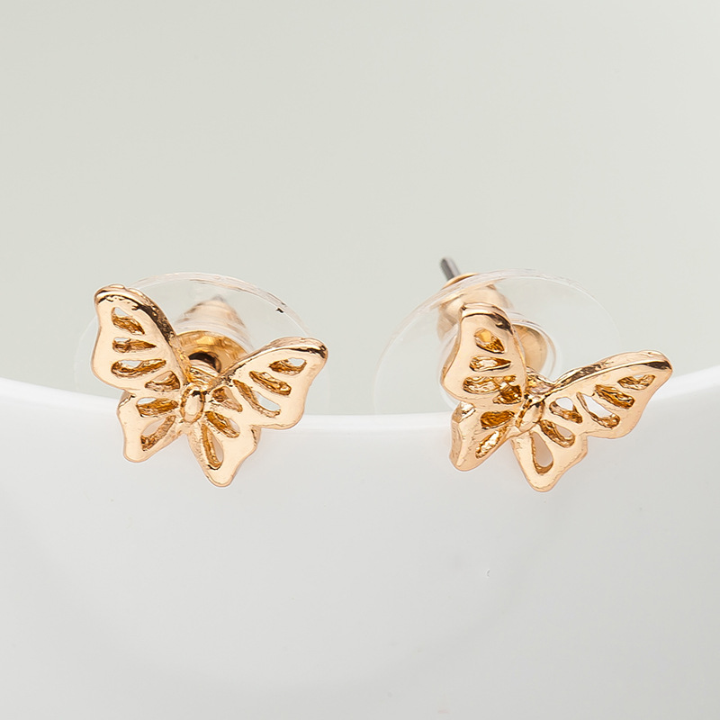 Rose Gold Silver Plated Butterfly Stud Earrings Hollow Animal Charm ...