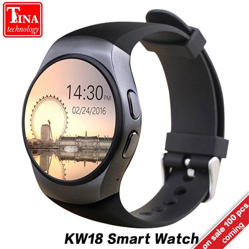 Бесплатная доставка KW18 Смарт-часы Поддержка sim-карта TF монитор сердечного ритма MTK2502 Smartwatch для Android IOS Телефон с коробкой
