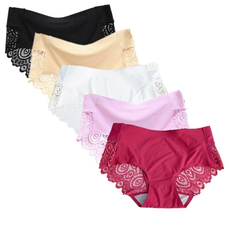 f8ca87115 5pcs lot M L XL Plus Size Sexy Hollow Briefs Cool Comfortable Panties Women  Lace Silk Sexy Lingerie Seamless Traceless Underwear