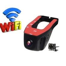 Universal Car Wifi DVR Hidden Installation Full hd Camera Support APP Control dual lens dash camThe night vision  car black box