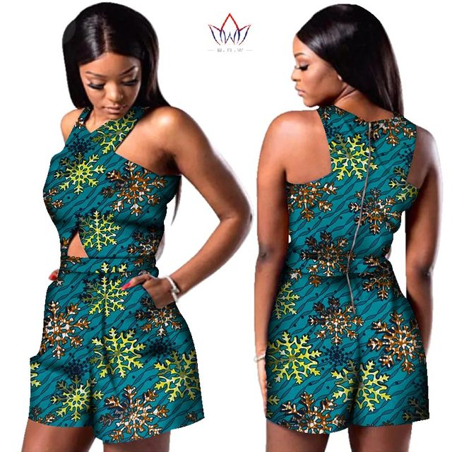 c1a03412a11cd Bazin African Wax Print Dashiki Jumpsuit Plus Size Sleeveless Romper  Jumpsuit Cloak Playsuit African Clothes for Women WY3249