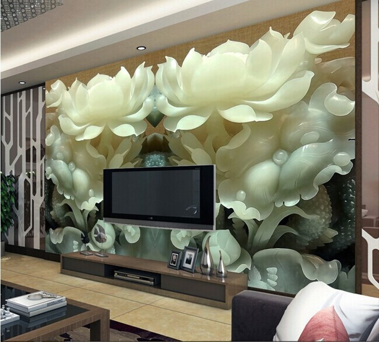 Beibehang Wall Paper Chinese Jade Lotus Stereoscopic Tv Background Wallpaper For Living Room Bedroom Photo In Wallpapers From Home