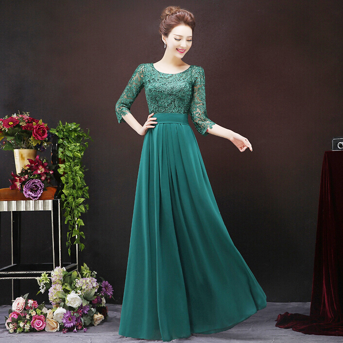 30 Exquisite Elegant Long Sleeved Wedding Dresses Chic: Aliexpress.com : Buy Elegant Women Long Emerald Dark Green