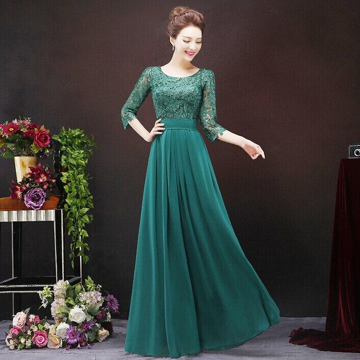 elegant women long emerald dark green sleeve formal fitted evening ...