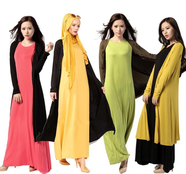 Las Mujeres musulmanas de Nuevo Becerro de Longitud de Gran Tamaño Flojo Capa de la Rebeca de Manga Larga Botones Summer Casual Wear