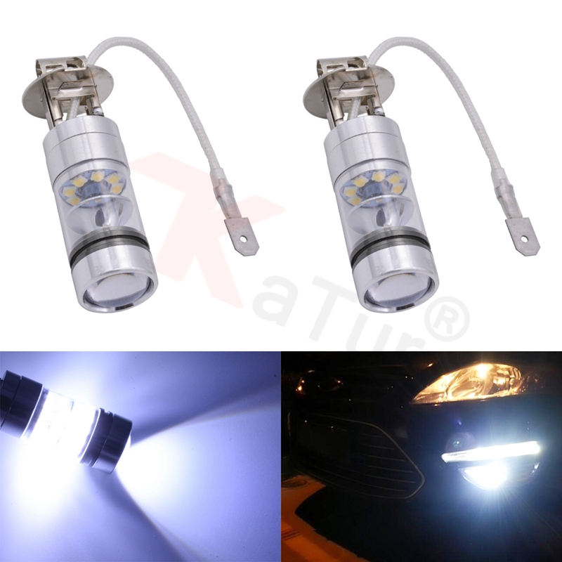2pcs H3 100W 1800LM White LED Car Auto Fog Lamps 20smd LED DRL Parking Driving Running Lamp Bulb Front Lighting  Car-styling high quality h3 led 20w led projector high power white car auto drl daytime running lights headlight fog lamp bulb dc12v