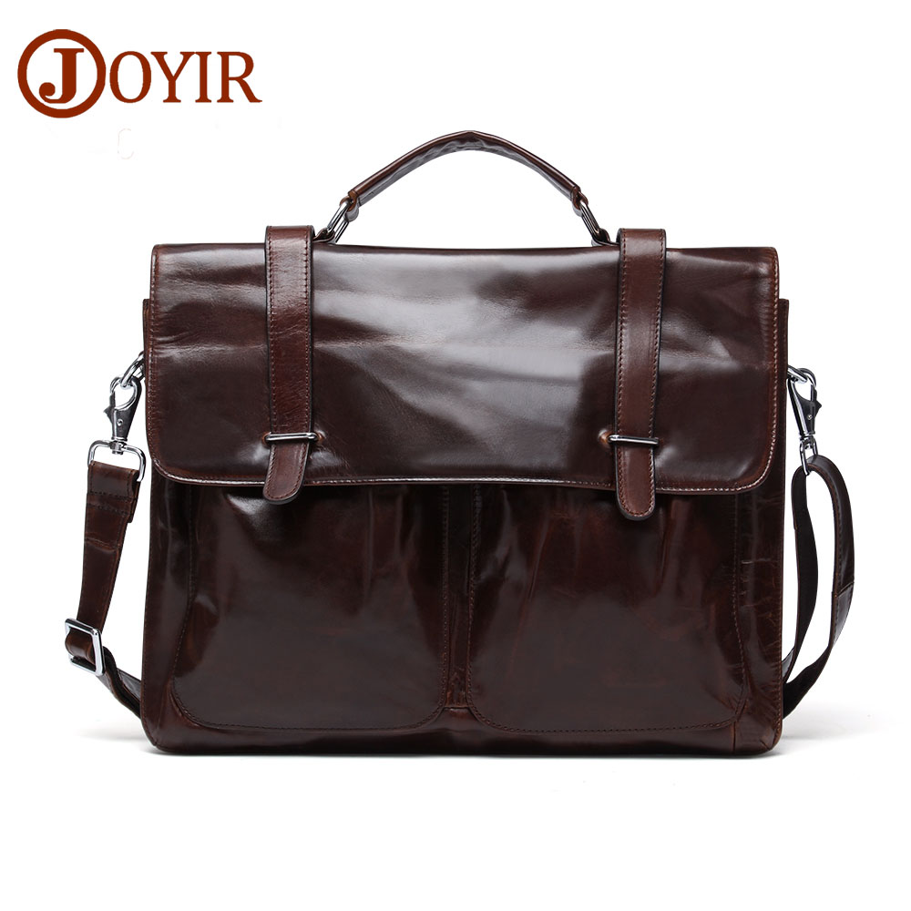 JOYIR High Quality Leather Mens Briefcase Designer Handbags Tote Bag Genuine Leather Shoulder Messenger Crossbody Bag Bolsas6346