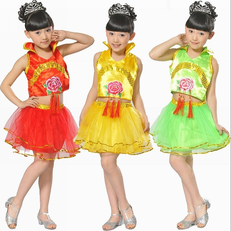 95b142c1ac88 Children s Dance Dress Girl Chinese National Stage Performance Dress ...