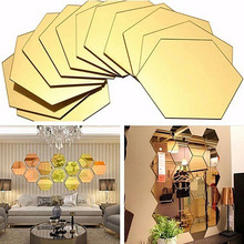 12Pcs 3D Mirror Hexagon Vinyl Removable Wall Sticker Decal Home Decor Art DIY Acrylic Mirrored Decorative Stickers