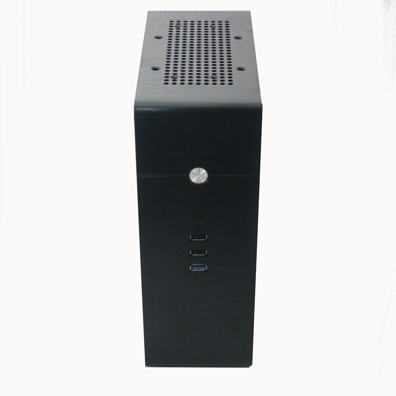 Black Desktop Aluminum Computer Small Chassis Vertical Desktop ITX Small Chassis Optional 1U Power Supply