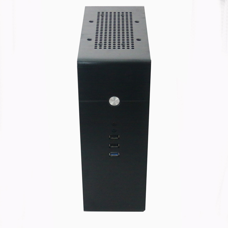 Black Desktop aluminum computer small chassis Vertical desktop ITX small chassis Optional 1U power supply new small aluminum chassis mini pc lbox 2840