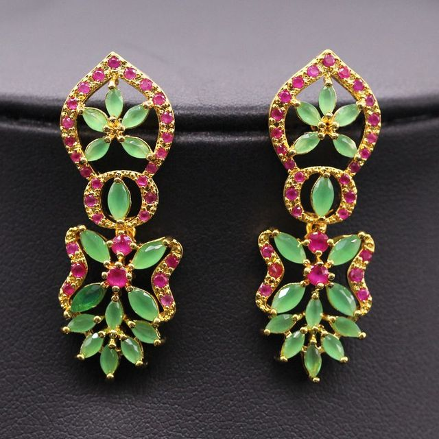 indian ear plated in gold fashion party from colourful earrings stud crystal brincos orecchini women cuff vintage jewelry for item pendientes