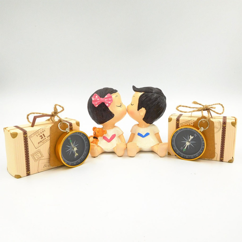 50pcs Gift Box Wedding Favors and Gifts Candy Box with Travel Compass Souvenirs for Guests Party