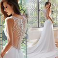 White Chiffon Vintage Weeding Dresses 2016 Sexy See Through With Brilliant Crystal Back Weeding Gowns Lace Wedding Dresses