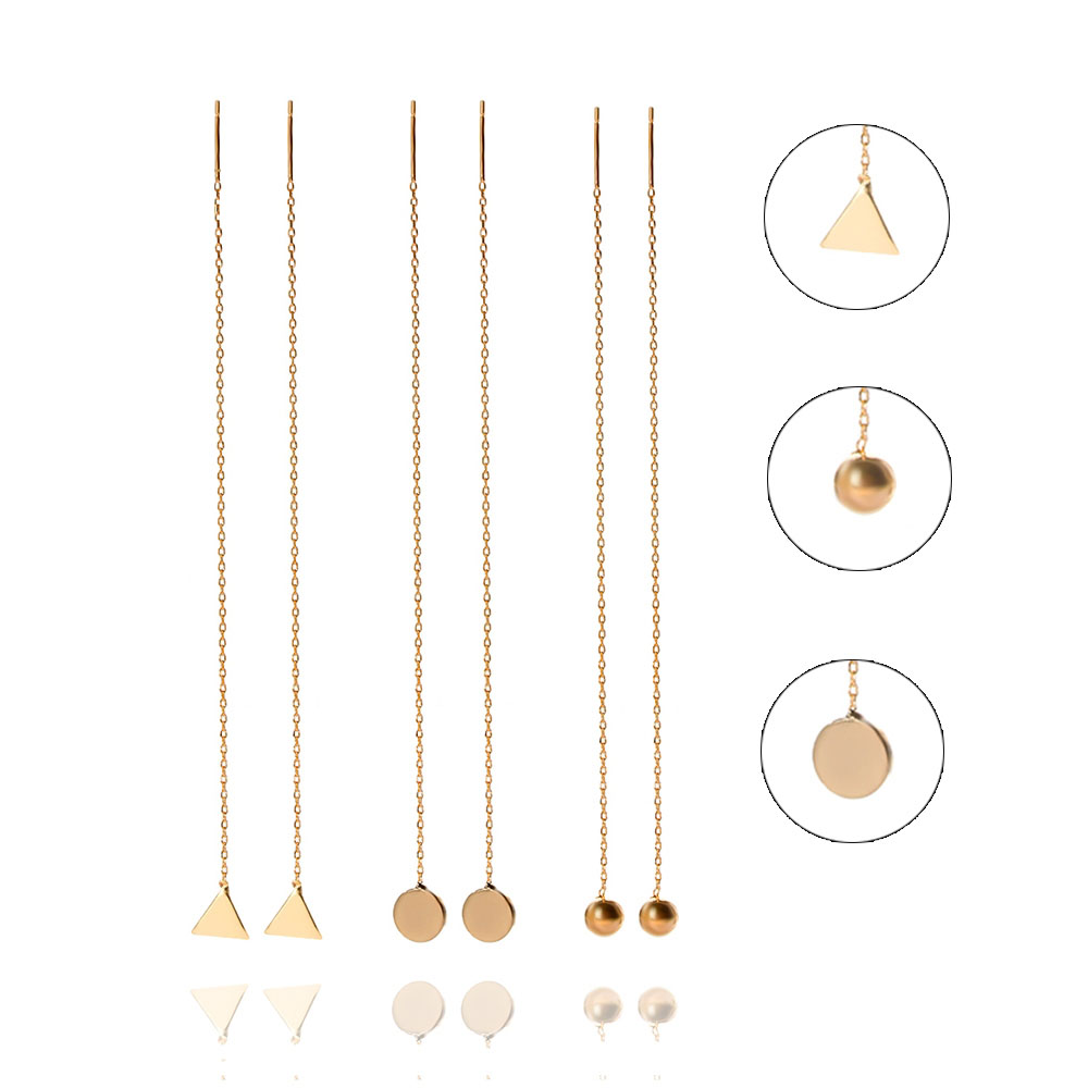 Gold Color Dangling Earrings for Women Geometric Hanging Earrings Triangle Round Ball Pendant Long Threader Drop Earrings(China)