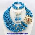 Moda Azul Turquesa Joyería de La Boda Africana Set Nuevo Diseñador GS398 Dubai Joyas de Oro Set Envío Libre