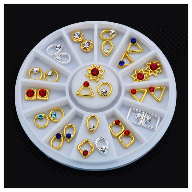 24pcs Mix Design Gold Silver Metal Nail Decoration Wheel Charm Rhinestone Nail Accessories Tools in Rhinestones Decorations from Beauty Health