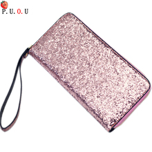 2019  Luxury Women Long Wallet Sparkly Sequined Clutch Glitter Pu Leather Ladies Phone Bag Card Holder Coin Purse Female Wallets