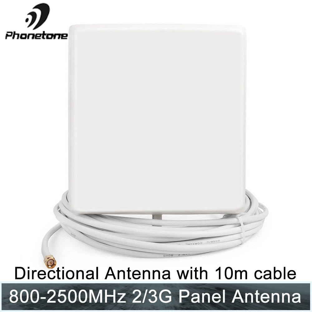 3G/GSM Antenna 800-2500MHz 9dB Outdoor Cell Phone SMA Male Panel Antenna For Cellular Signal Booster Gsm Repeater With 10M Cable