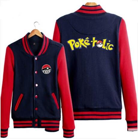 New Pikachu Pokemon go Hoodies Anime cosplay Gane Hooded Winter cotton baseball Coats Jackets Men Sweatshirt