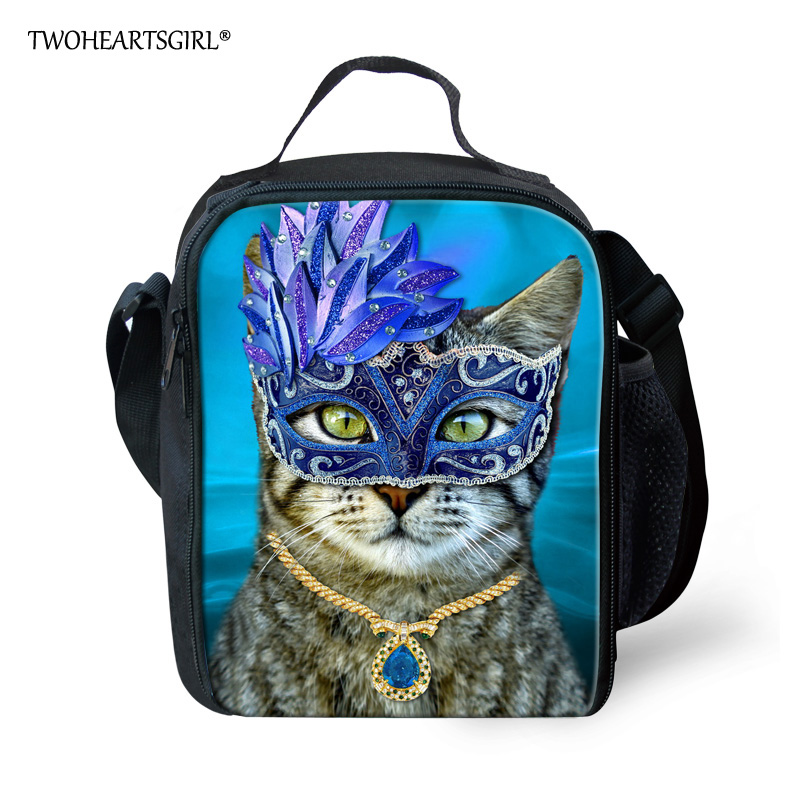 TWOHEARTSGIRL Mask Cat Two Pocket Lunch Bag Thermal Food Picnic For Women Kids Men Casual Lunch Box Bag Tote with Elastic Strap