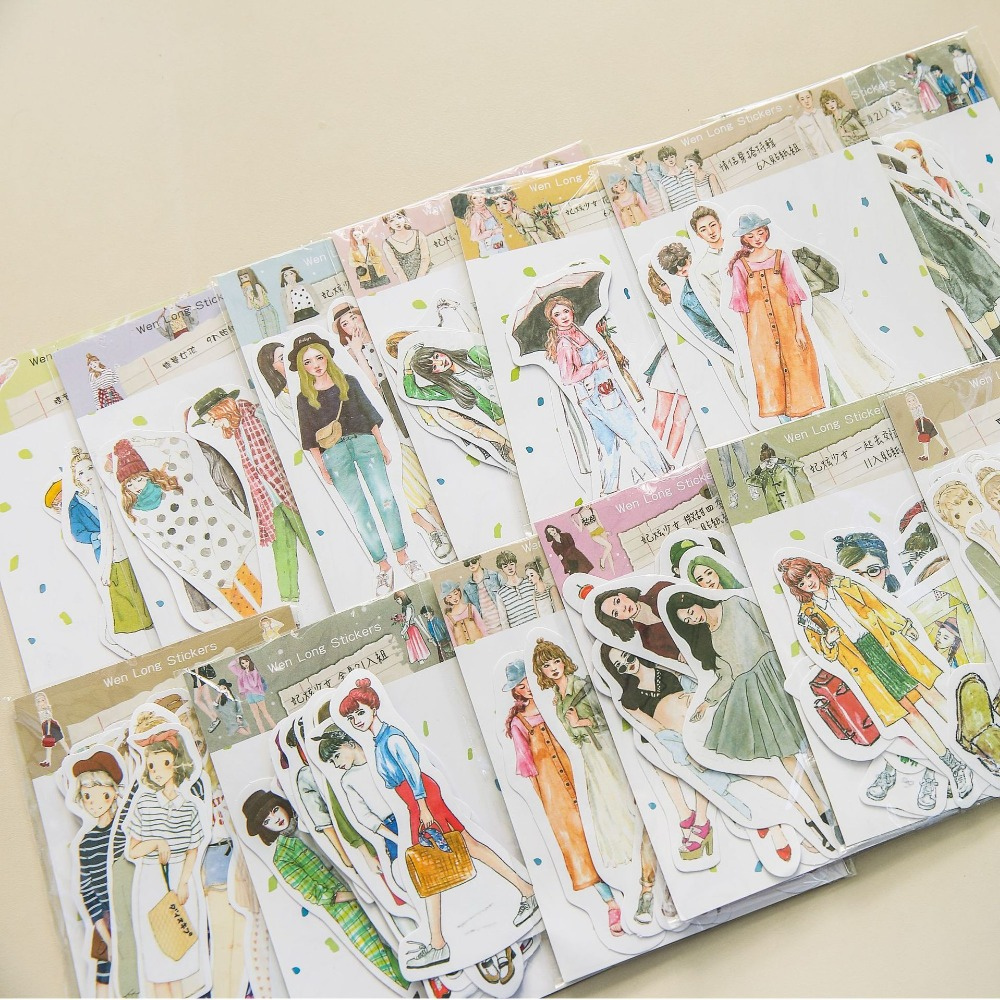 Lovely Girls Stickers Scrapbooking Hand Book Waterproof Beauty Fashion Girl Sticker For Laptop Children Kids Notebook Pegatinas