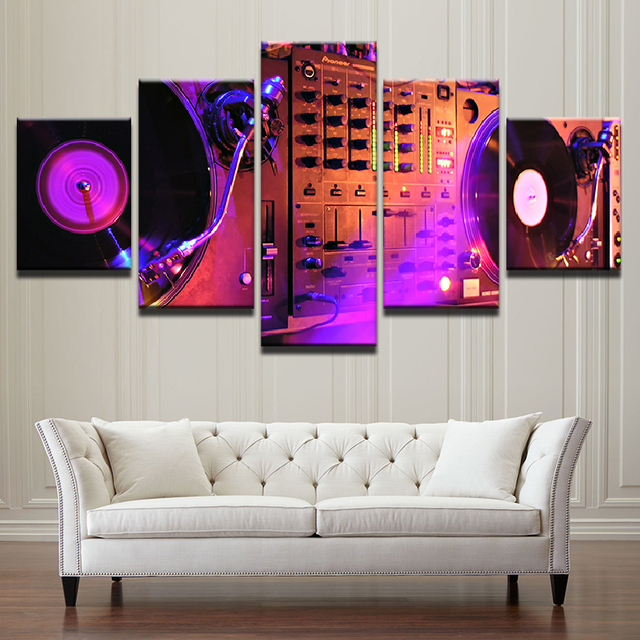 Elegant Abstract Pictures Living Room Wall Art Prints Canvas 5 Pieces Music DJ  Console Instrument Mixer Painting