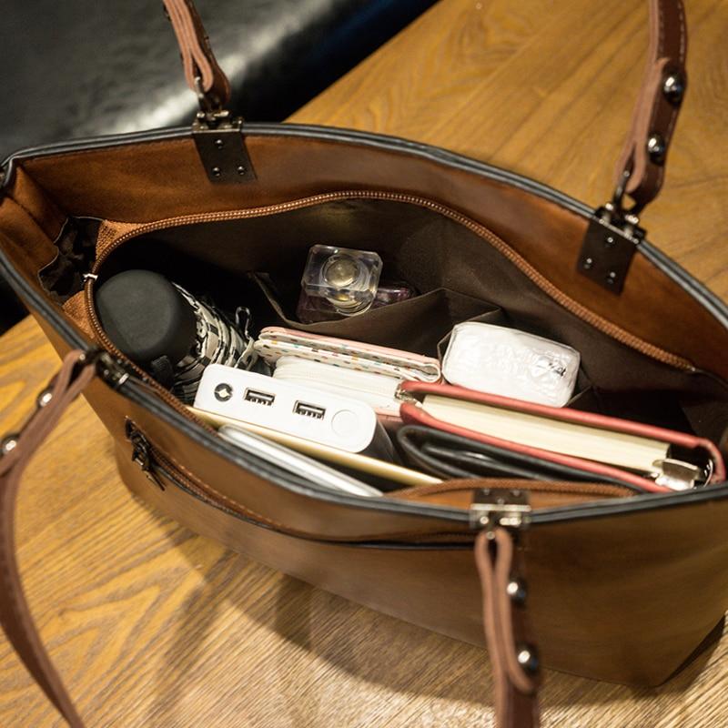 Retro PU Leather Women Shoulder Bag Female Causal Totes for Daily Shopping Handbag