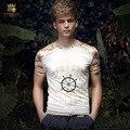 Envío Libre Del Verano de los hombres casuales de la moda masculina 2016 ropa de verano de los hombres delgados Camiseta de la impresión de Corea 15575 En Venta